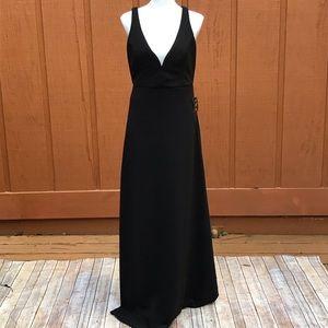 Lulu's Sleeveless Black Maxi Dress Deep V Neckline